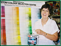 Judy Ellis at the Paint Section, Tahsis Building Supplies